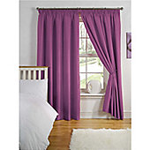 Hamilton McBride Thermal Backed Pencil Pleat Curtains - Aubergine
