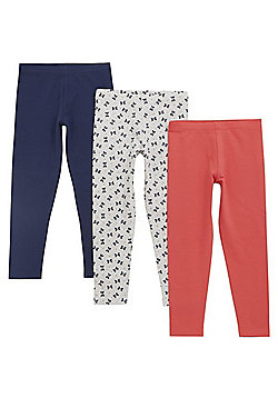 F&F 3 Pack of Bow Print and Plain Leggings - Multi
