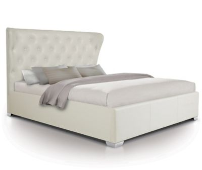 Contemporary Opulent Oversized Ottoman Gas Lift Storage Bed Upholstered in Faux Leather - King - White