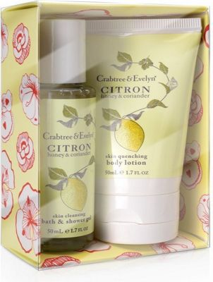 Crabtree & Evelyn Citron Honey & Coriander Gift Set 50ml Body Lotion + 50ml Bath & Shower Gel