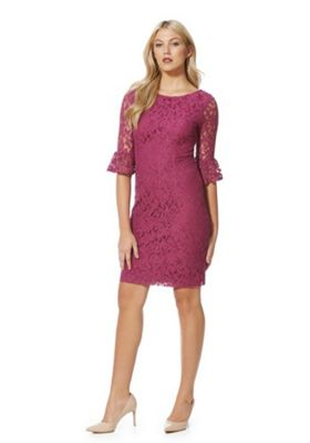 Roman Originals Lace Bell Sleeve Pencil Dress 18 Pink