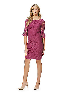 Roman Originals Lace Bell Sleeve Pencil Dress - Pink