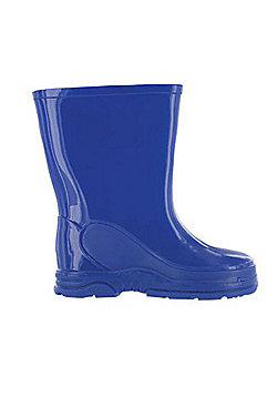 Boys Blue Basic Wellies Wellington Rubber Boots UK Child 4 - 13 - Blue