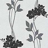 Superfresco Easy Serene Paste The Wall Floral Black/White Wallpaper