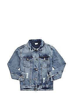 F&F Distressed Denim Jacket - Blue