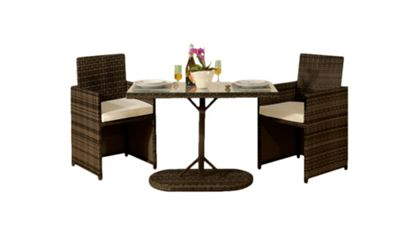 Comfy Living 3PC Rattan Bistro Dining Garden Furniture Set In Brown With Cover - 2 Chairs & Table