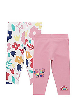 F&F 2 Pack of Embroidered and Floral Print Leggings - Multi