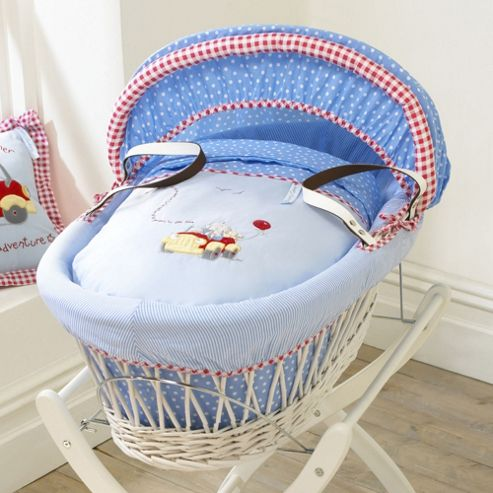 Izziwotnot Humphreys Little Red Car White Wicker Moses Basket