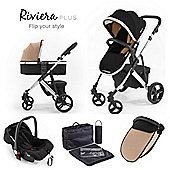 Riviera Plus 3 in 1 Chrome Travel System, Black & Taupe