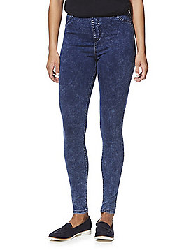 F&F Premium Acid Wash Mid Rise Jeggings - Indigo