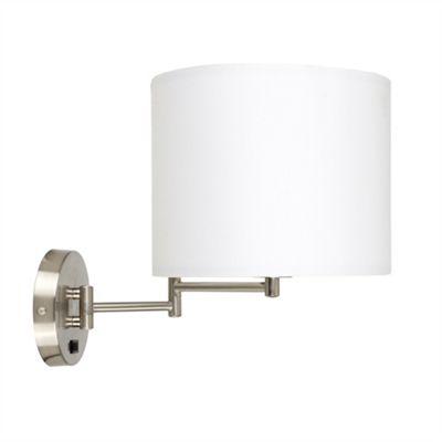MiniSun Sinatra Swing Arm Brushed Chrome LED Wall Light - White