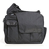 Diaper Dude Flap Messenger II Changing Bag Black Pinstripe