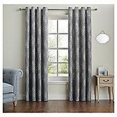"""Fox & Ivy Fern Print Curtains - 66x54"""" - Grey"""