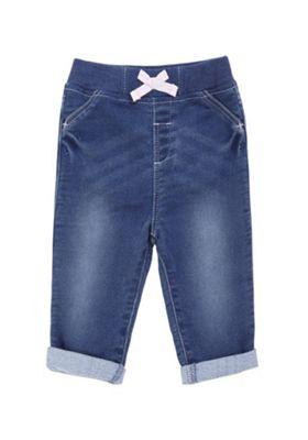 F&F Bow Waist Soft Jeans Blue 3-6 months
