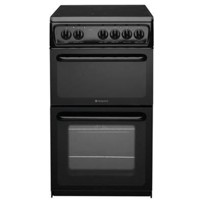 Hotpoint Newstyle Electric Cooker with Electric Grill and Ceramic Hob, HAE51K S - Black