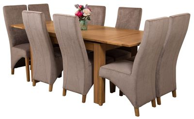 Richmond medium Extending Solid Oak Dining Set Table and 8 Grey Fabric Chairs