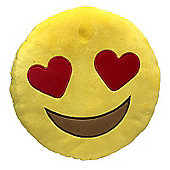 Puckator Emotive Heart Eyes Smiley Face Plush Cushion, 27cm