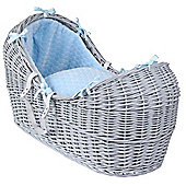 Clair de Lune Grey Noah Pod Moses Basket (Marshmallow Blue)