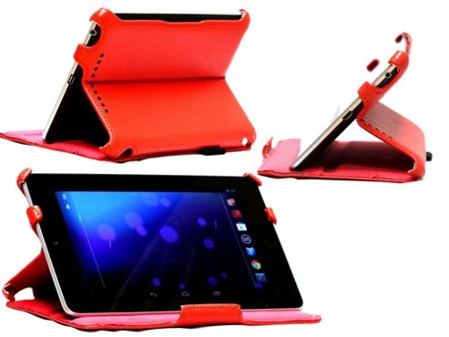 Navitech Red Multi Stand Hard Faux Leather Case For The Asus Google Nexus 7 Inch
