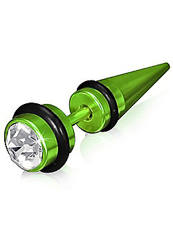 Urban Male Bright Green Stainless Steel Fake Ear Taper with CZ
