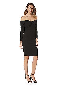 AX Paris Bardot Long Sleeve Dress - Black
