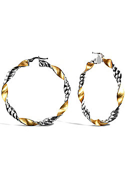 Ladies 9ct Yellow and White Gold Frosted Ribbed Twist Hoop Earrings