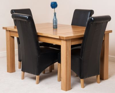 Seattle Solid Oak Extending 150 - 210 cm Dining Table with 4 Black Montana Leather Chairs