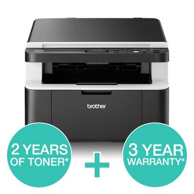 Brother DCP-1612WVB Mono Laser Printer, Wireless, 20ppm + 5 Toners + 3 Year Warranty