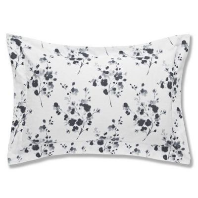 Bianca Cotton Soft Sprig Grey Print Oxford Pillowcase