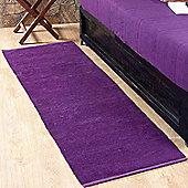 Homescapes Chenille Plain Cotton Rug Runner Purple, 66 x 200 cm