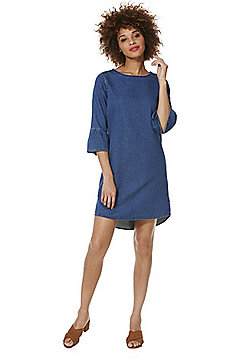 F&F Denim Bell Sleeve Dress - Blue