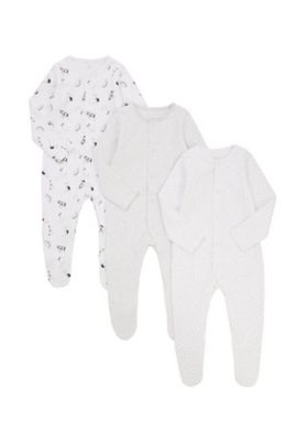 F&F 3 Pack of Printed Unisex Sleepsuits Multi 6-9 months