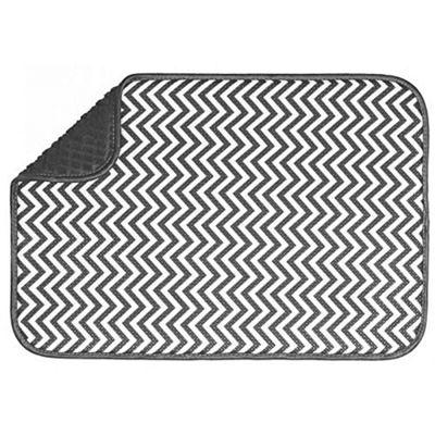 Country Club Microfibre 46 x 41cm Drying Mat, Grey Chevron