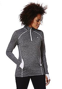 F&F Active Space Dye Half Zip Long Sleeve Top - Grey