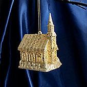 Gold Light Up Church Christmas Tree Decoration