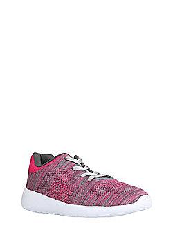 F&F Marl Knit Trainers - Pink & Grey