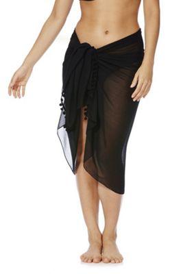 F&F Pom Pom Trim Sarong One Size Black