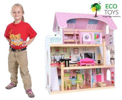 Fairy Tail Wooden Dolls House Set + 13 Dolls House Furniture Pieces + 2  Dolls