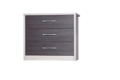 Alto Furniture Avola 3 Drawer Chest - Cream Carcass With Grey Avola