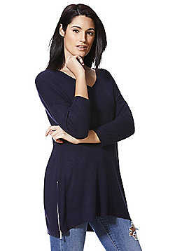 F&F Zip Detail Tunic - Navy
