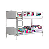 Comfy Living 3ft Single Children's Premium Bunk Bed in White with 2 Sprung Mattresses