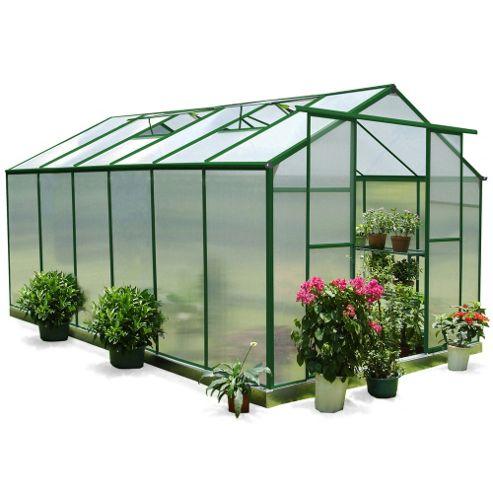 Nison EaZi-Click 12X8 Aluminium Polycarbonate Greenhouse in Dark Green including Base