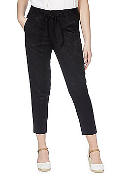 F&F Jacquard Leaf Tapered Trousers - Black