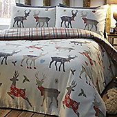 Reindeer, Check King Size Bedding - 100% Brushed Cotton