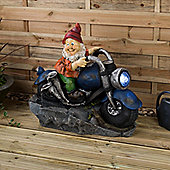 Christow Gnome Water Fountain With LED - Biker