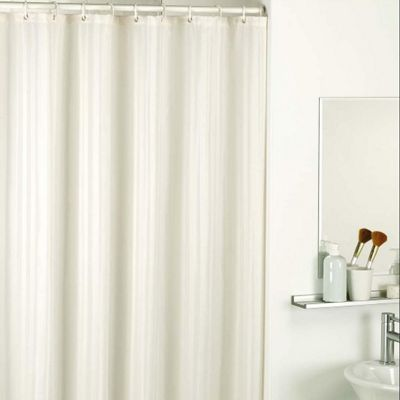 Catherine Lansfield Satin Stripe Shower Curtains in Natural