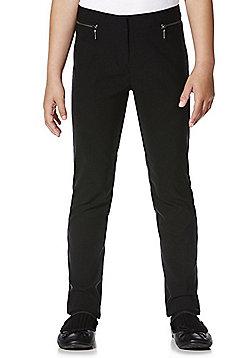 F&F School Girls Stretch Bengaline Slim Leg Trousers - Black