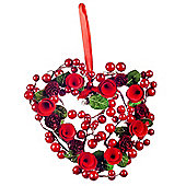 Hanging Artificial Red Berry & Spiral Wood Christmas Heart Wreath