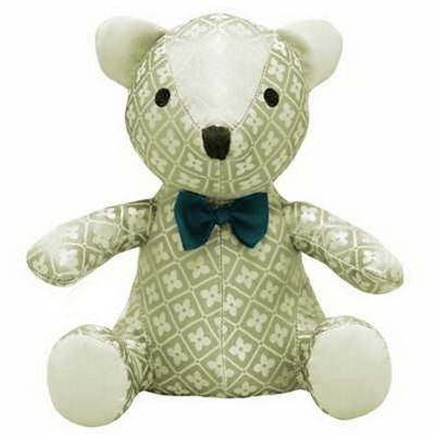 Diamond jacquard woven fabric teddy bear door stopper with a bow tie - beige