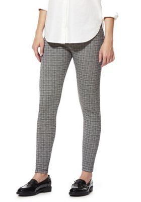 F&F Checked Woven Leggings 8 Grey